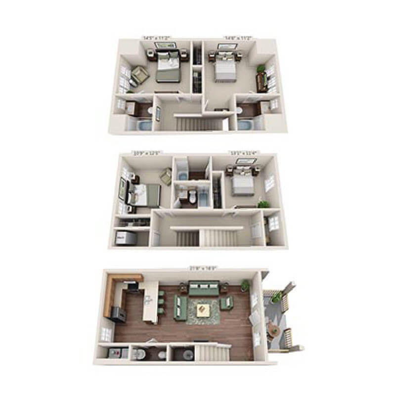 Floor plan of a 4 bed, 4.5 bath student apartment