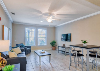 Living Room with Furniture and a TV at Lyons Corner Apartments