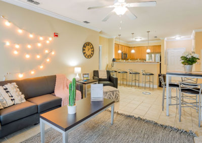 Interior View of a Living Room and Kitchen at Lyons Corner Apartments