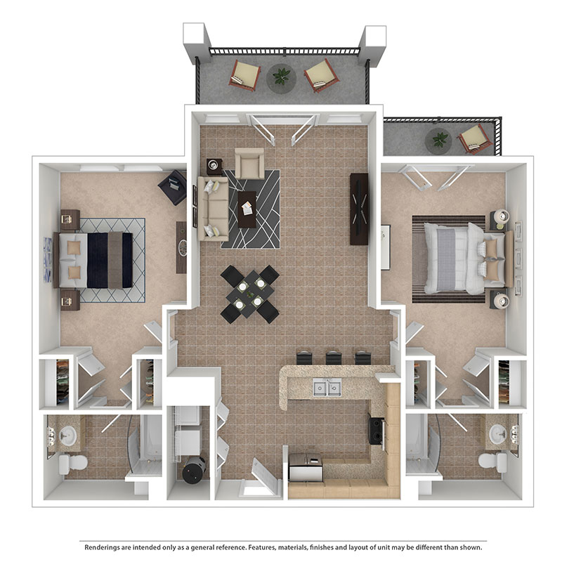 Floor plan of a 2 bed, 2 bath student apartment